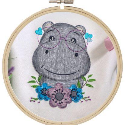 Hippo Nilpferd Doodle Stickdatei